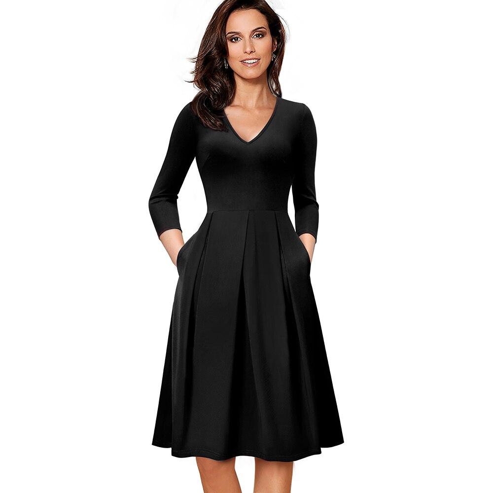 V Élégant Vintage cou Travail Solide Couleur Party Automne Casual Black Robe Femmes Patineuse Swing dark D'affaires ligne A Ea126 Bureau Red oxCdrBe