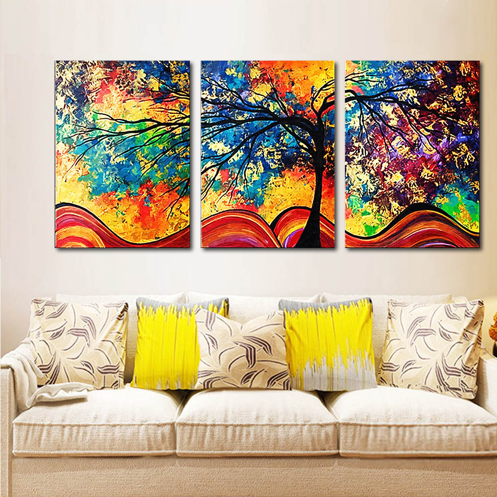 Unframed 3 HD Canvas Prints Abstract Color Tree Cartoon Art Decorative Paintings Living Room Mural Unframed