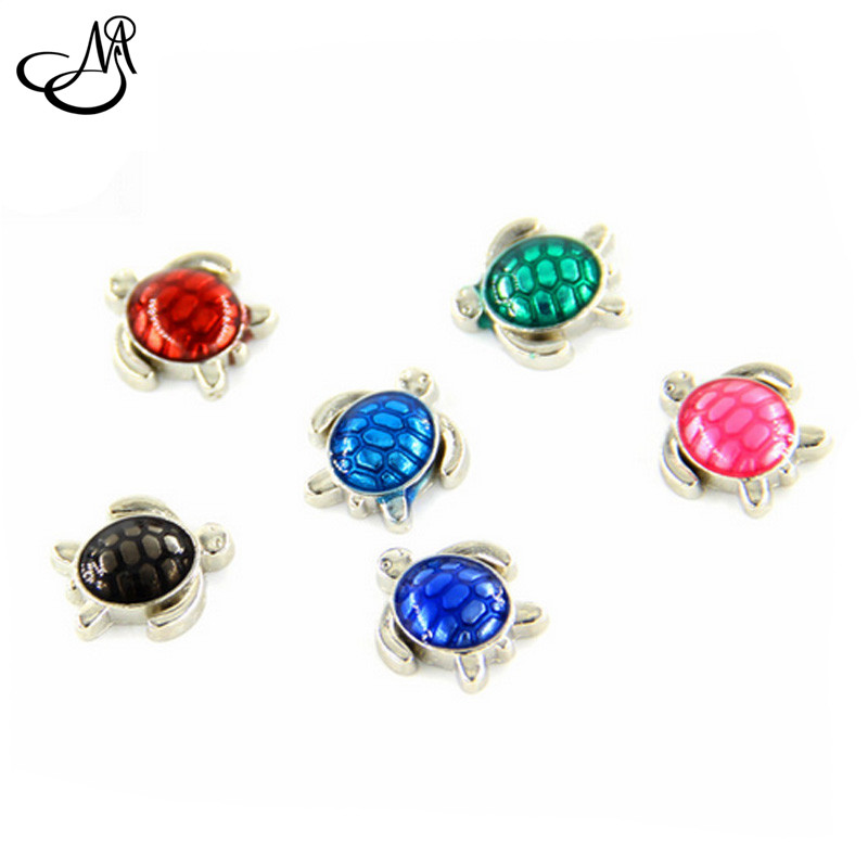 Free shipping floating charms,mix 6 colors silver turtle charms for glass locket MFC3352