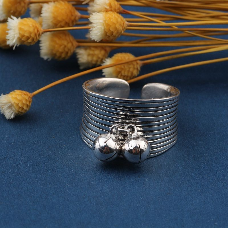 s925 pure silver Archaize Thai silver bells woven ring opening female model