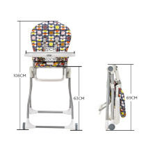 HAPPY DINO Baby Dining Chair Foldable Multifunction Compact Highchair Portable Baby Feeding Chair Adjustable Kid Chair for 7-36M