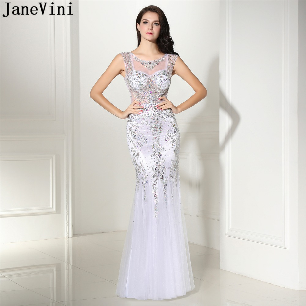 JaneVini Luxury Heavy Beading Tulle Long   Bridesmaid     Dresses   V Neck Illusion Back Sparkly African White Mermaid Formal Prom Gowns
