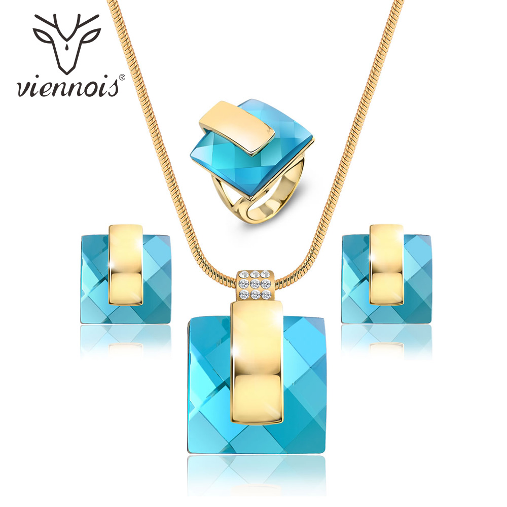Viennois Gold Color Blue Stone Square Rhinestone Earrings Necklace Jewelry Set Wedding Party New Women Jewelry viennois luxury silver color jewelry sets for women blue crystals chain necklace earrings set bridal set wedding jewelry set