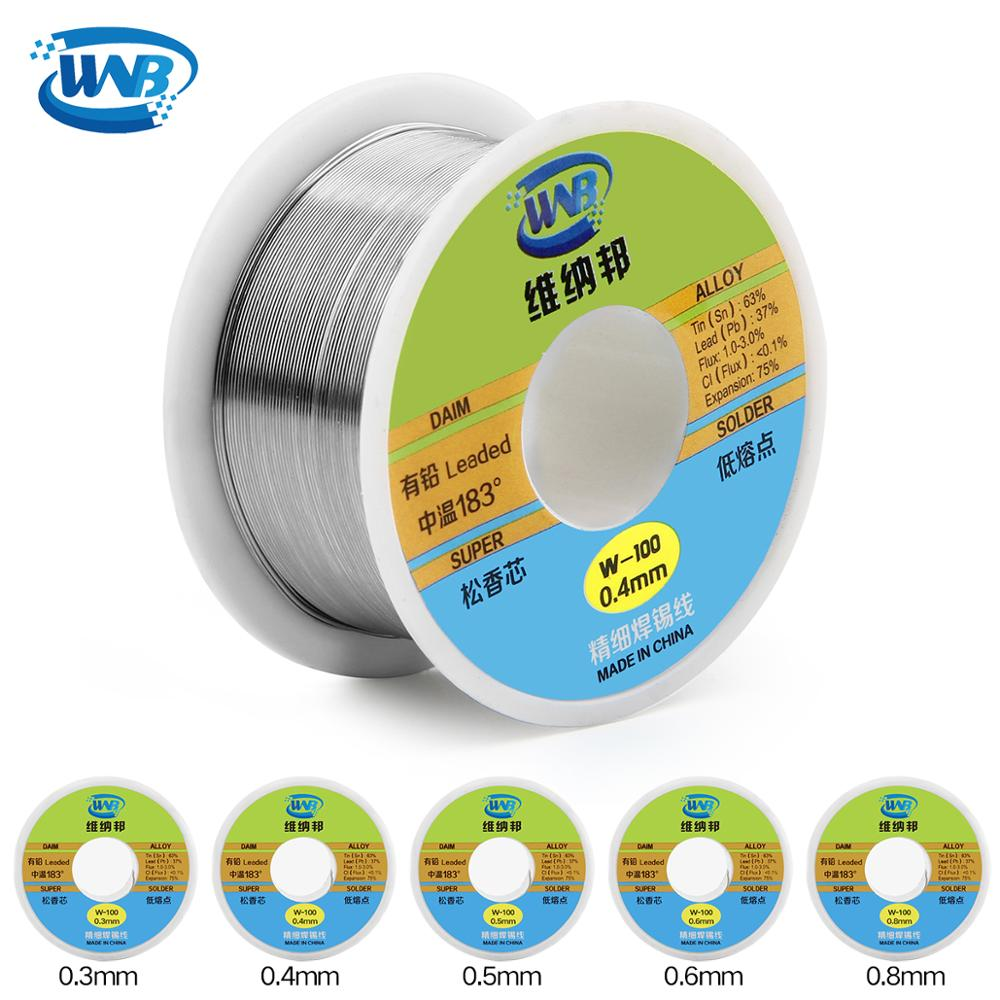 WNB New 0.3/0.4/0.5/0.6/0.8mm 50g Rosin Core Tin Lead Solder Wire 37%/63% Welding Paste Flux 2.0% Iron Repair Resion Cable Reel