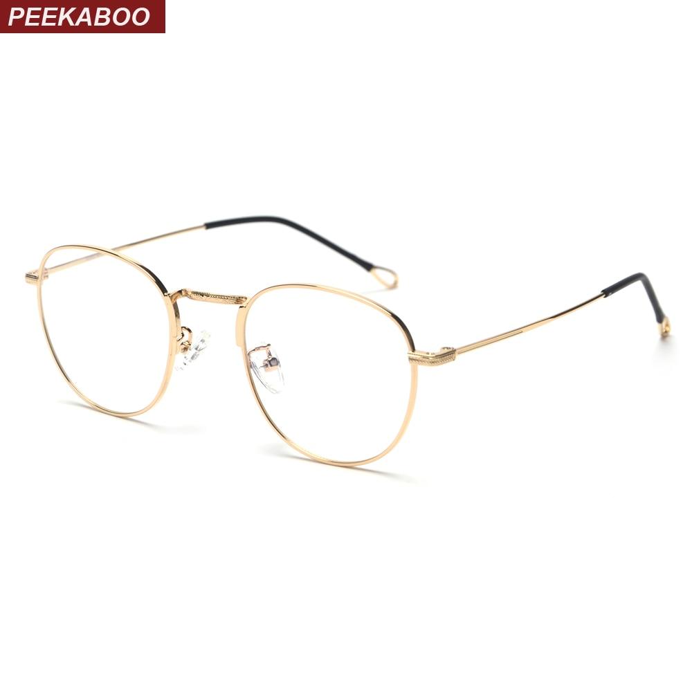 e75d714e143c Peekaboo retro round eyeglasses frames men metal frame 2019 male computer glasses  women optical frame gold