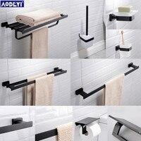 Bathroom Hardware Set Black Towel Rail Rack Bar Shelf Paper Holder Toothbrush Holder Soap Dished Bathroom Accessories