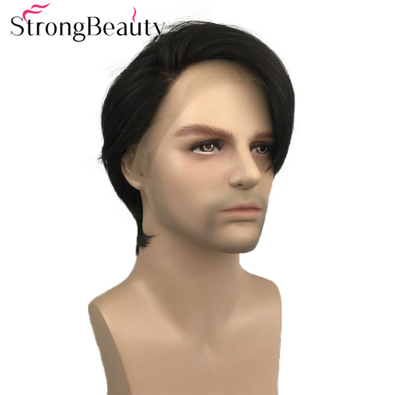 StrongBeauty Synthetic Lace Front Wig Men Hair Short Straight Wigs Natural Black Hair