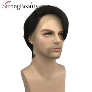 Image 1 - StrongBeauty Synthetic Lace Front Wig Men Hair Short Straight Wigs Natural Black Hair