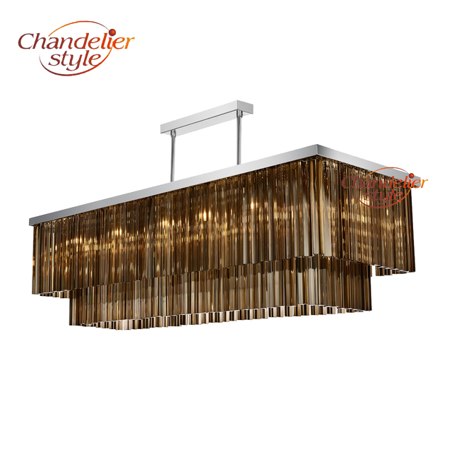 linear glass prism chandelier lighting luxury rectangular