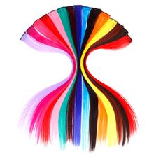 AOSIWIG pojedynczy klip w jednym kawałku przedłużanie włosów długie prosto odporne na ciepło syntetyczne różowe zielone kawałki włosów tanie tanio Proste 2 cale z 1 klipami Czysty kolor Włókno wysokotemperaturowe Wpryb