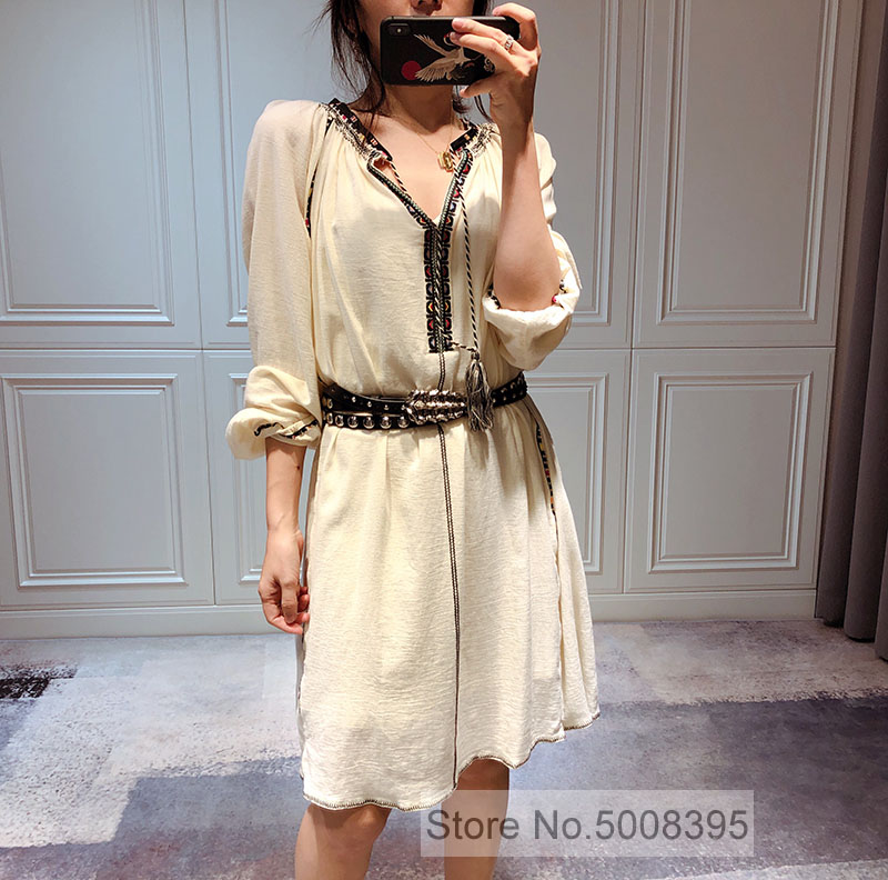 Brand new Black Beige DRESS embroidered cotton dress long sleeves tie V neck TOP QUALITY