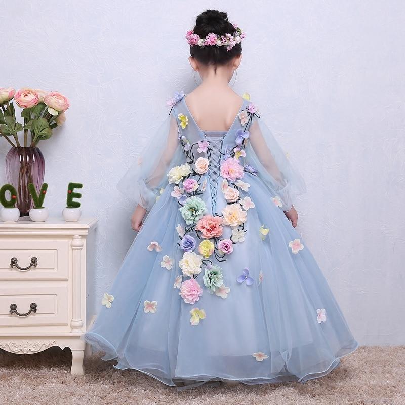 Flower Girls Dresses Long Children 's Wedding Flower Fairy Dress Dancing Children Baby Anniversary Christening Dresses for Girls