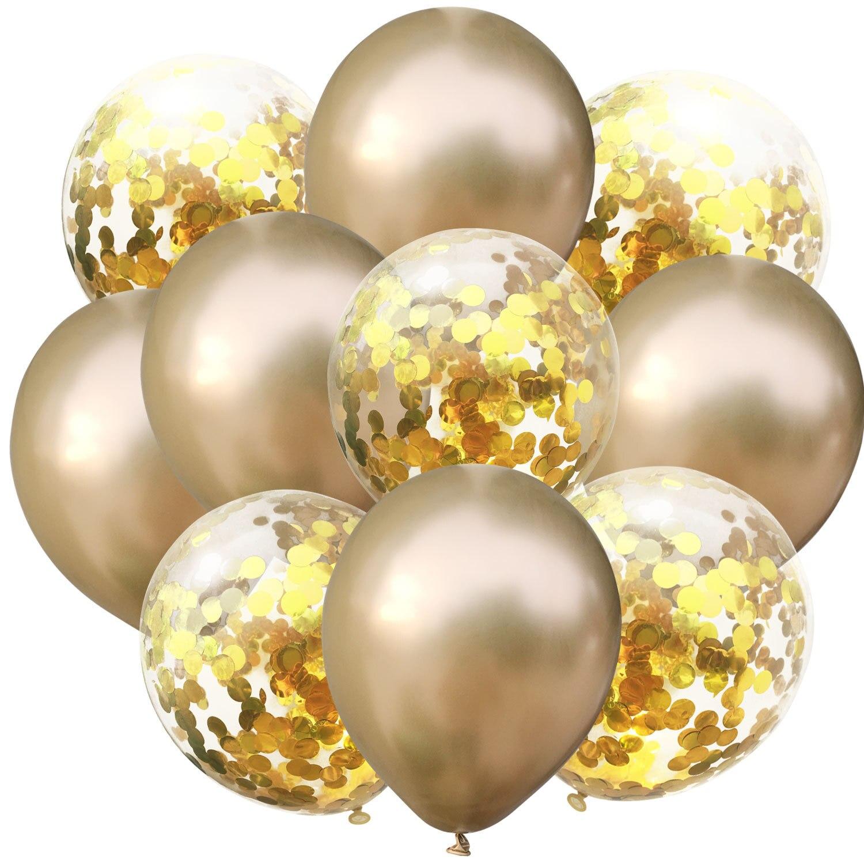 10 шт./лот, 12 дюймов, 5 шт., металлический цвет+ 5 шт., конфетти, латексные шары, для детей, для дня рождения, украшения, шары, мультяшная шляпа, игрушка - Цвет: gold