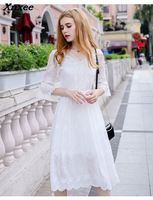 High Quality 2018 Designer A line Fashion Summer Dresses Half Sleeves Flare Sleeve Embroidery Floral White Short Chiffon Dress