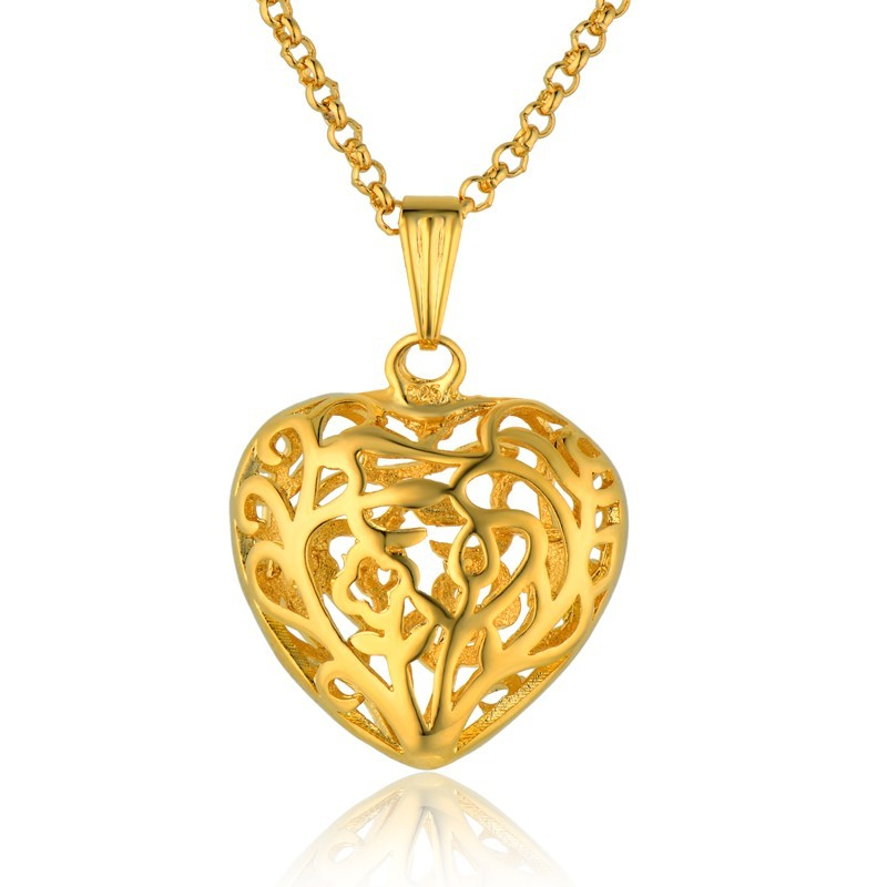 Golden Statement Pendent High Quality Hollow Heart Necklaces Pendants For Women Gold Color Cute Pendant With Chain Colar