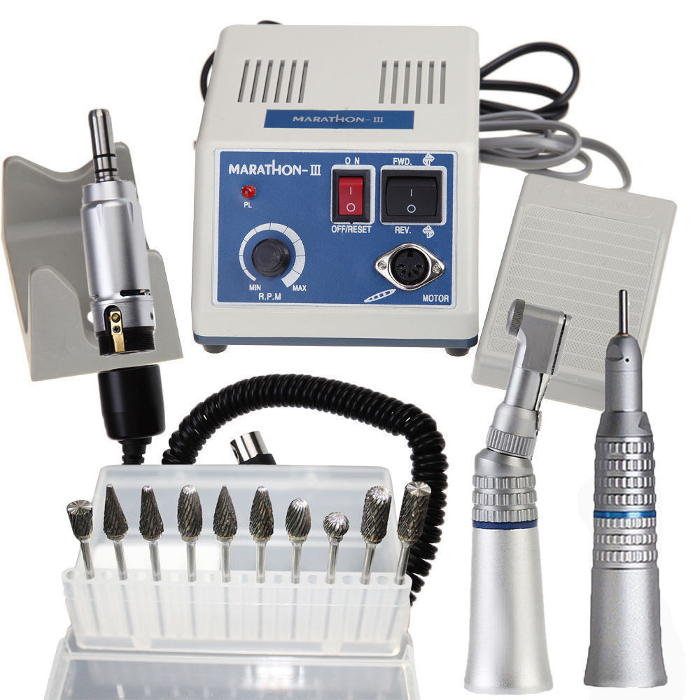 Dental Lab MARATHON Handpiece 35K Rpm Electric Micromotor polisher+10 Burs Tip dental lab marathon handpiece 35k rpm electric micromotor polishing drill burs