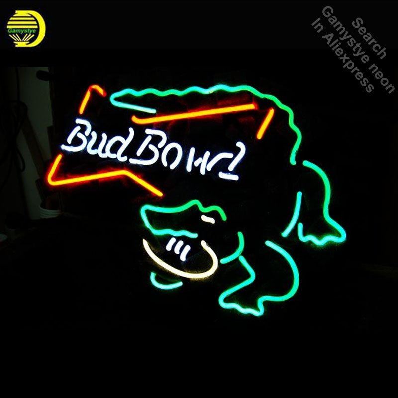 Budweise Bud Bowl Gator Neon Sign neon Light Sign galss tubes Commercial Recreation Warehouse Light Iconic Neon signs for sale