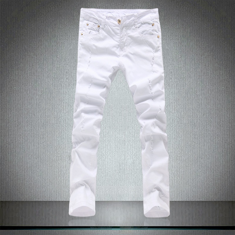 Size 28-36 High Quality White Jeans Men 2019 New Designer Solid Ripped Jeans For Men Casual Elastic Long Pants Denim Clothes