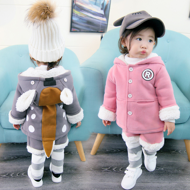 2018 Winter Infant Baby boys girls Clothing set Children outfit 2pcs Cartoon Fox Fleece Hooded Coat +Pants Kids Thick warm Suit 2016 new men fashion