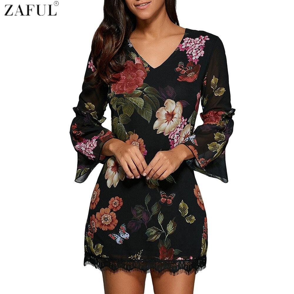 zwarte jurk bloemen