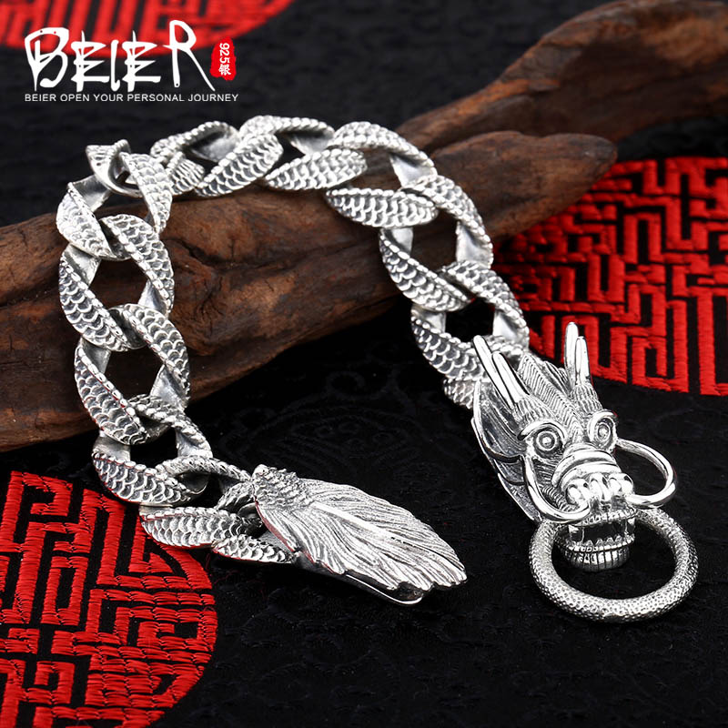 Domineering Dragon Chain Bell 925 Sterling Silver Bracelet Animal Lucky Bracelet Men's Bracelet SCTYL0098