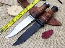 2 Colores Nuevo KA-BAR OLEAN NY USN MK1 7CR17Mov Cuchilla Cuchillo Fijo Cuchillo de Acero + Mango De Cuero Funda De Cuero Herramienta que acampa