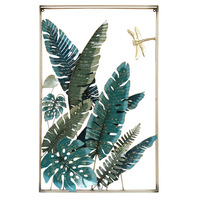 Wrought Iron 3D Stereo Tropical Plant Banana Leaf Wall Hanging Decorative Craft Decoration Bedroom Wall Stickers Ornaments R2196