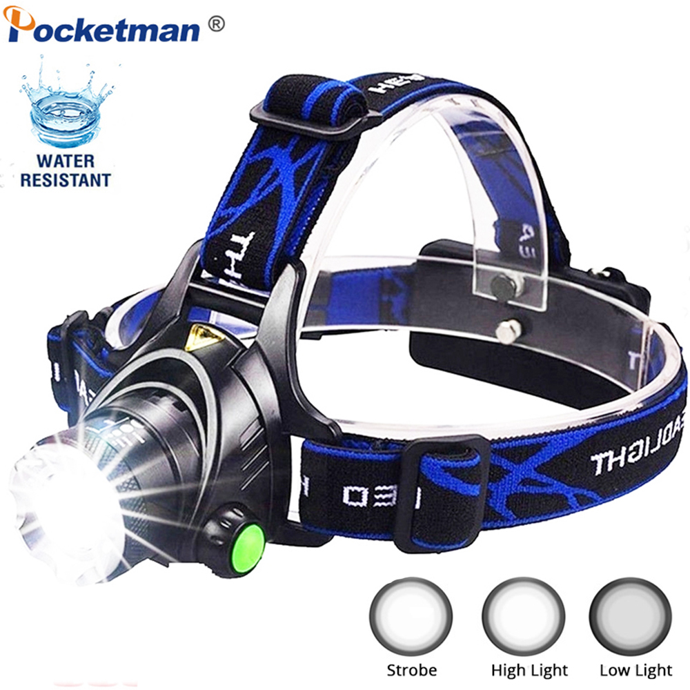 Powerful 5500LM LED Headlamp Zoomable Waterproof LED Headlight Hand-free Flashlight Torch For Hiking Camping Working Fishing