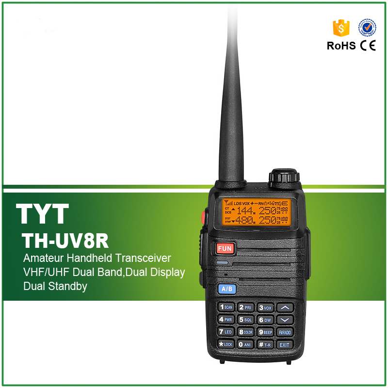 New Walkie Talkie UHF+VHF 400-520MHz/136-174MHz 5W 256 CH DTMF 1750Hz Tone Two-Way Radio TH-UV8R BlackNew Walkie Talkie UHF+VHF 400-520MHz/136-174MHz 5W 256 CH DTMF 1750Hz Tone Two-Way Radio TH-UV8R Black