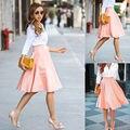 Hot Sale da moda Womens Slim Fina Cintura Alta Saias Plissadas verão ocasional na altura do joelho-comprimento da saia das mulheres plus size S-2XL