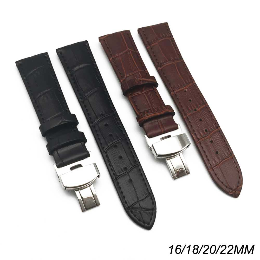 Men watch strap Genuine Leather Watchband Butterfly Buckle Watch Band Croco Grain Bracelet women Watch Strap 16 18 20 22 24mm цена