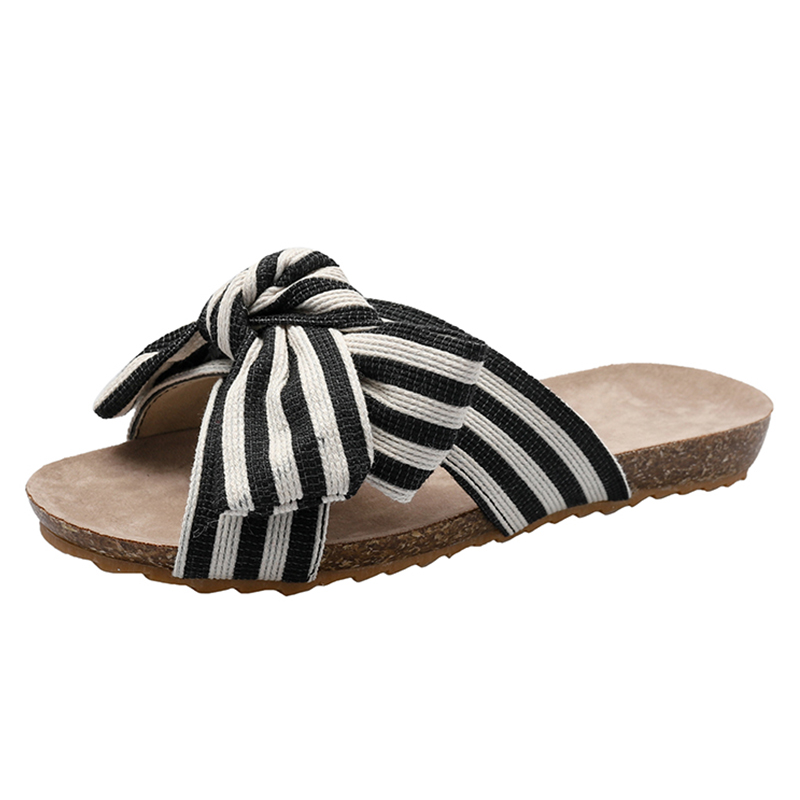 Leopard Beach Slippers For Women Summer Slippers Women Slides Flip Flops Bowknot Ladies Home Slippers buty damskie Plus Size 42 in Slippers from Shoes