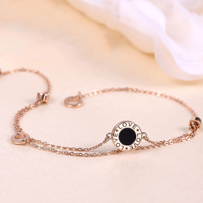 Romantic 18K True Solid Gold AU750 Rose Color Black Agate LOVE Letters Chain Bracelet for Women Girl Female Gift Fine JewelryRomantic 18K True Solid Gold AU750 Rose Color Black Agate LOVE Letters Chain Bracelet for Women Girl Female Gift Fine Jewelry