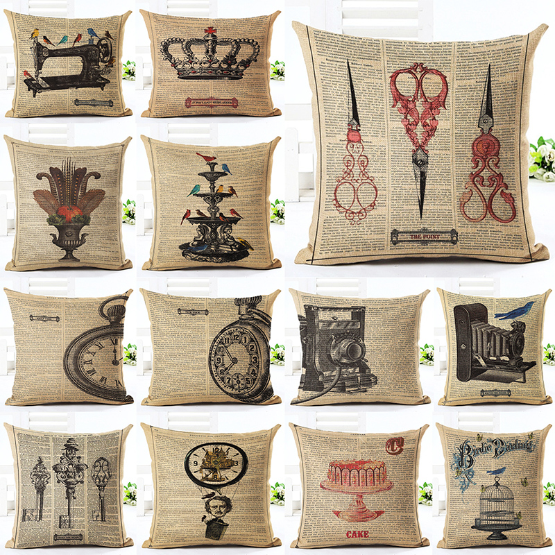 Retro Pattern Pillowcase Cushion Cover Pillow Case For Sofa Home Decoration F