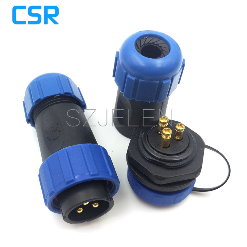 SP2110,waterproof Connector 3 pin, No need to weld , outdoor power link wire connectors,LED connection cable plug and socket sp21 no need welding waterproof connector plug socket 2 pin power cable connector panel mount 21mm ip68 led connectors