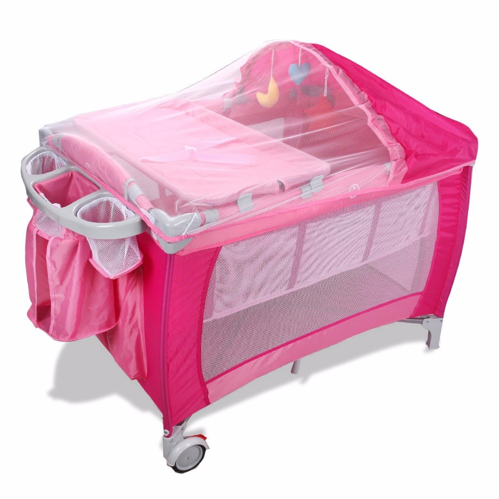 Фотография Goplus Portable Folding Baby Crib Multifunctional Child Bed Pink Blue Playpen Baby Cradle Bed with Mosquito Net and Bag BB0446