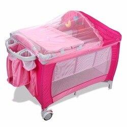 Goplus Tragbare Falten Baby Krippe Multifunktionale Kind Bett Rosa Blau Laufstall Baby Wiege Bett mit Moskito Netz und Beutel BB0446