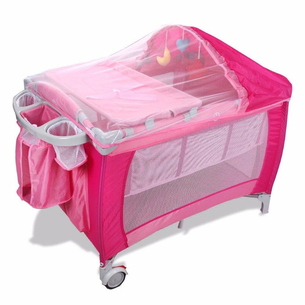 Goplus lit bébé pliant Portable lit enfant multifonctionnel rose bleu parc bébé berceau lit avec moustiquaire et sac BB0446