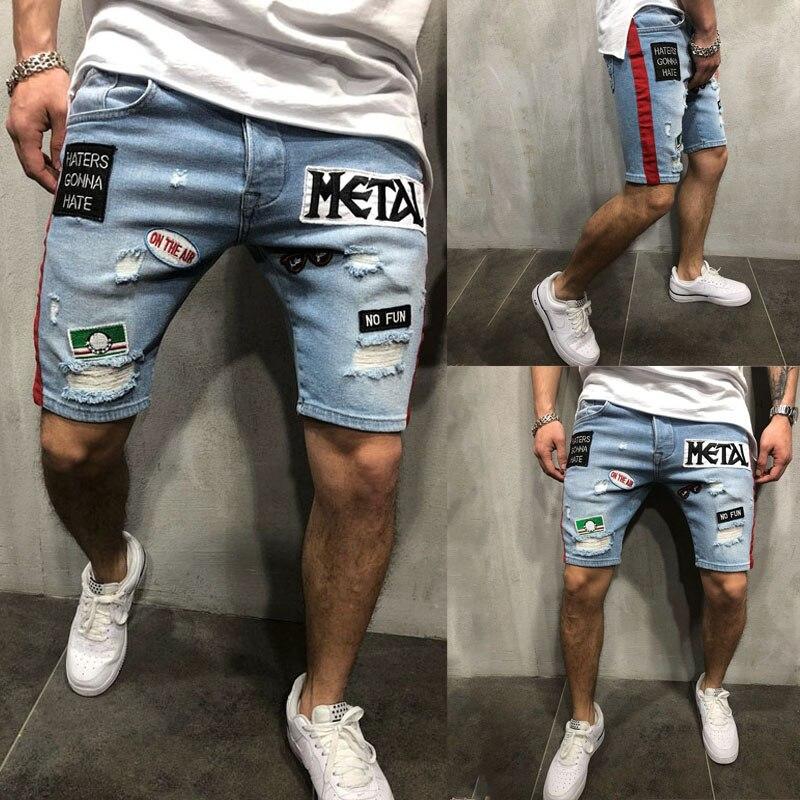 New Fashion Mens Ripped Short Jeans Brand Clothing Summer Short Pants Shorts Breathable Denim Shorts Male