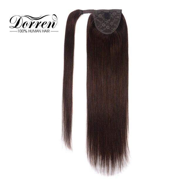 """Cola de Caballo cabello Clip en extensiones de cabello máquina Remy humano europeo pelo de cola de caballo marrón Chocolate 120g 14 """"a 24"""""""