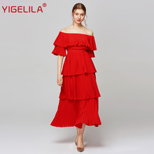 YIGELILA Summer Women Red Pleated Long Dress Fashion Fashion Slash Qeck Off Shoulder Half Sleeve Empire Slim Draped Dress XL Size 63660