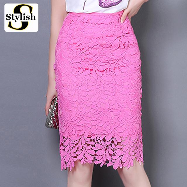 High Waist Pencil Lace Office Ladies Skirt