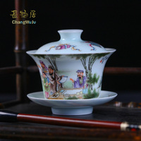 Changwuju in Jingdezhen fine Cups & Saucers the handmade famille rose porcealin Kung Fu tea cup with cover painted by Jinhongxia