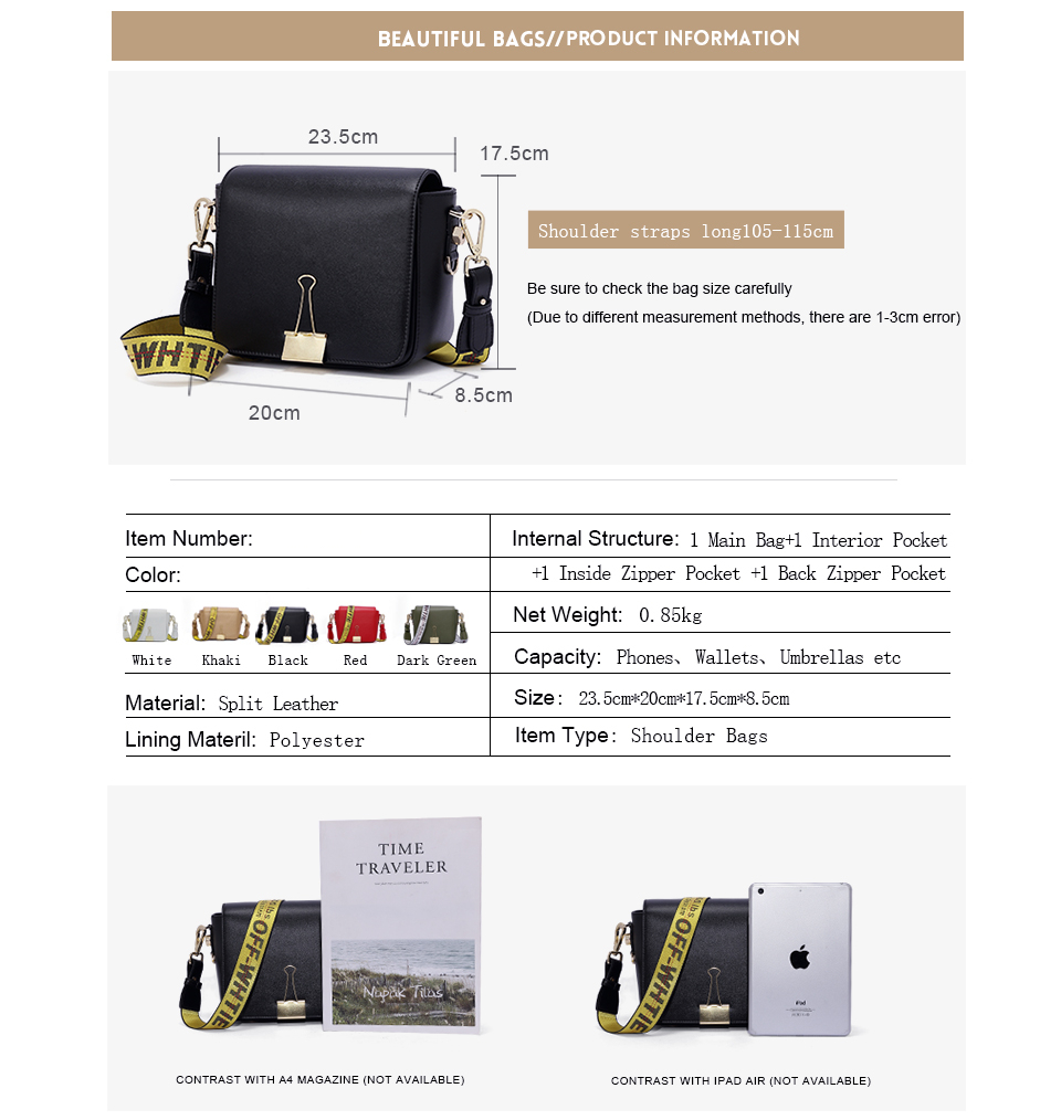 HTB1vv4yKuuSBuNjSsziq6zq8pXaF 2018 Fashion Bag for lady Off White Bag