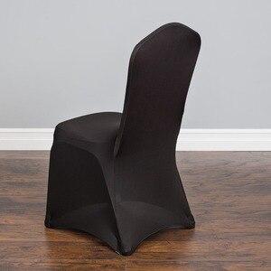 Image 2 - Housse de chaise dintérieur extensible, noire, pour fête, mariage, Banquet, décoration dhôtel, livraison gratuite, 100 pièces