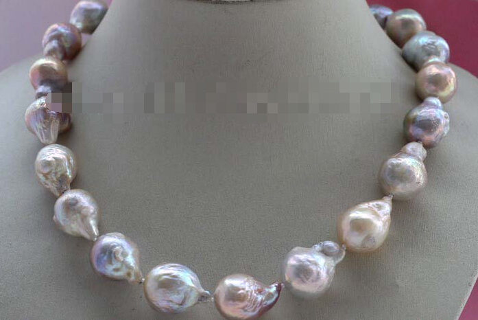 free shupping Natural 22mm Multicolor Baroque Edison Reborn Keshi Pearl necklace цена и фото