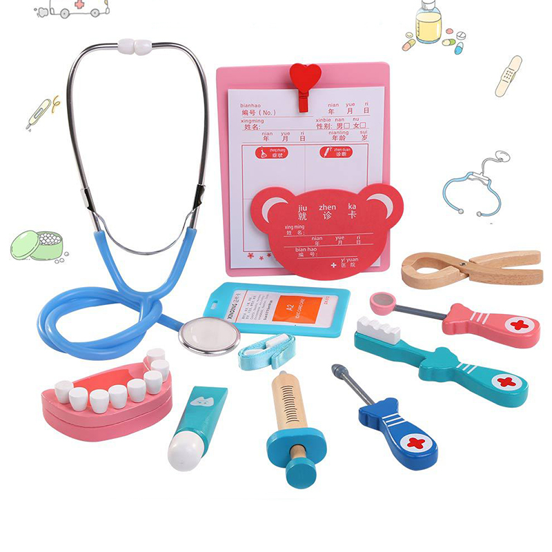 Unisex Toddler Pretend Play Stethoscope Toy Doctor Toys Wood Simulation Dentist Toy Accessories Small Nurses Injection Tool Girl