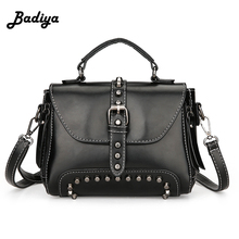Brief New Design Women Leather Handbags Vintage Lady Crossbody Shoulder Bag Rivet Ladies Messenger Bags Casual Shopping Clutchs