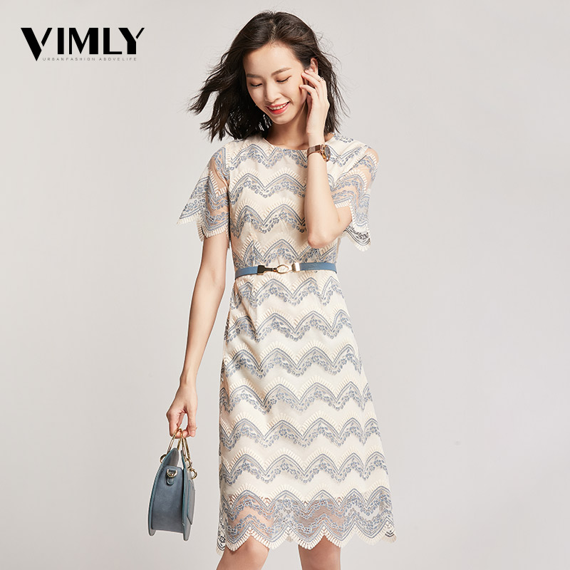 Vimly Elegant Office Lace Women Dress Summer A Line Mesh Dresses Hollow Out High Quality Party Dress With Belt Vestidos
