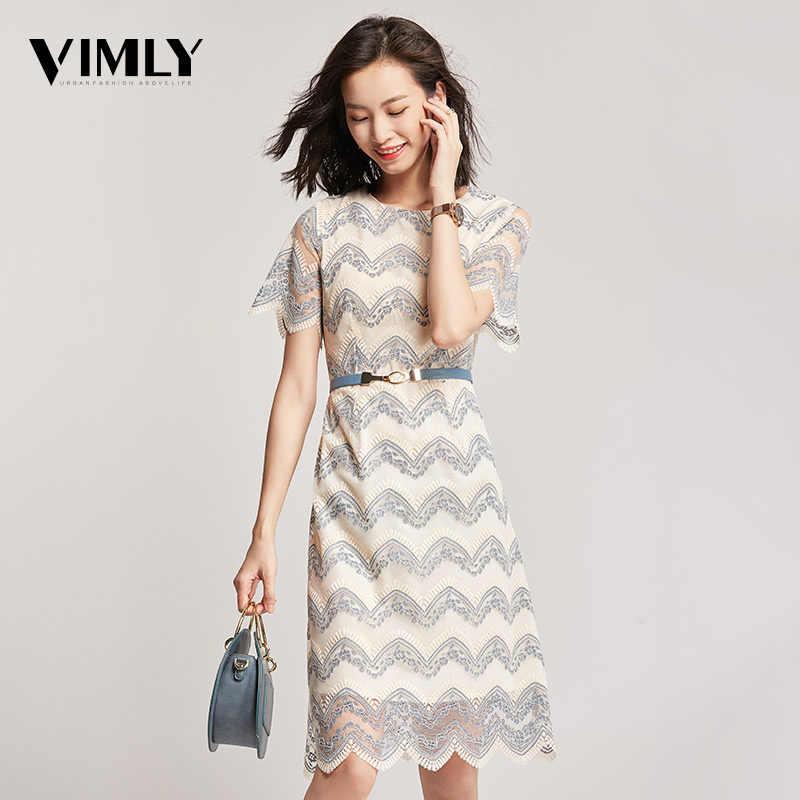 Vimly אלגנטי משרד תחרה נשים שמלת קיץ קו רשת שמלות חלול החוצה באיכות גבוהה מפלגה שמלה עם חגורה Vestidos